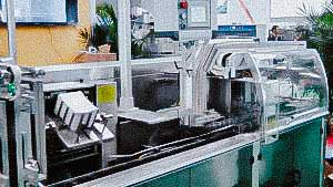 Automatic cartoning machine for packing blisters and plastic tubes into boxes