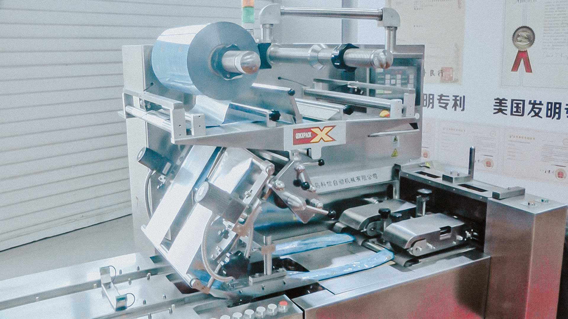 Automatic packaging machine to pack blisters with pills in plastic bag