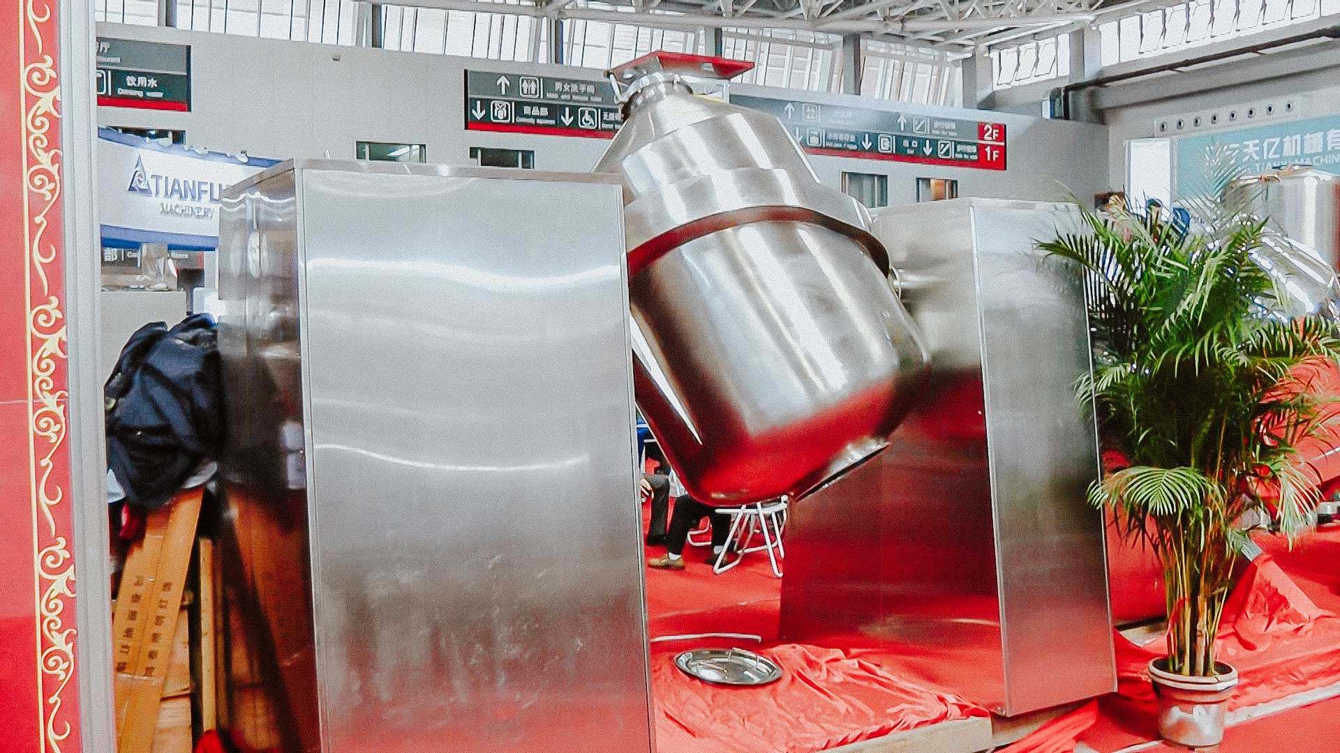 Large rotational cone powder mixer for medicine and food preparation