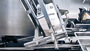 Automatic glass ampoule packaging equipment in cardboard boxes in pharmaceutical production